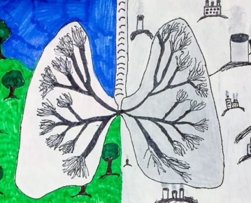 Claire Hawks lung pollution drawing